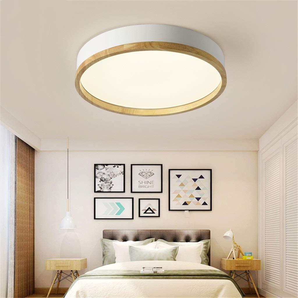 JINWELL Holz Deckenleuchte Weiß Runde Schlafzimmer Lampe Wohnzimmer Lampe  Moderne Minimalistische Massivholz Schlafzimmer Deckenleuchte LED Runde ...