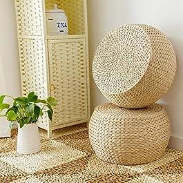 Coussin en Paille Tissée, Coussin Japonais en Tatami Pouf Rond Fait Main Coussin de Chaise Tatami Coussin de Siège de…