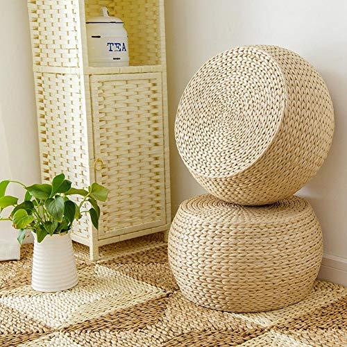 Coussin en Paille Tissée, Pouf Rond Fait Main Coussin de Chaise Tatami Coussin de Siège de Yoga Tapis de Sol en Tricot Décor À La Maison