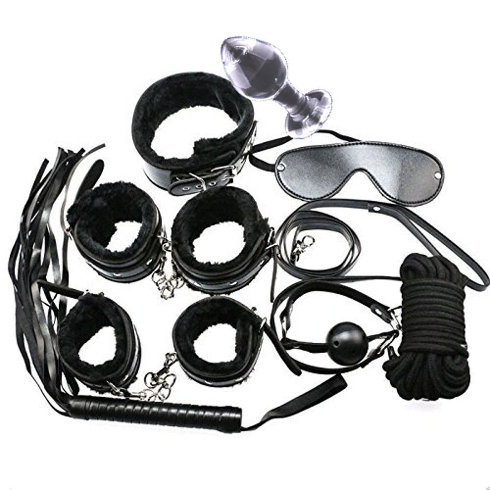kit set bdsm bondage sadomaso 9 pezzi sex toy sessioni schiavo plug anale in vetro collare polsini f
