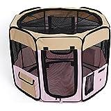 amzdeal® Welpenlaufstall Faltbar Hundebox Reisebox Pink 35 x 58 x 85cm