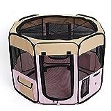 amzdeal Welpenlaufstall Tierlaufstall für Hunde Katze Faltbar Box Grün mit Größe (35cm Breite x 58cm Höhe x 85cm Durchmesser)