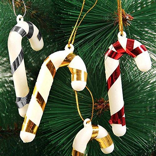 10pcs/lot Navidad plástico árbol de Navidad bastón de caramelo adornos colgantes decoración...