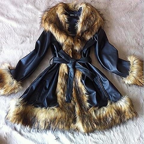 ZQQ La Sra invierno del collar grande de la piel del mapache de oveja piel de cuero de la capa larga , black , xxxl