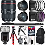 "Canon 24-105mm Is II USM Lens 1380C002 + Pro Flash + 0.43X Wide Angle Lens + 2.2X Telephoto Lens + UV-CPL-FLD Filters + Macro Filter Kit + 72"" Photo/Video Monopod - International Version"