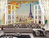 Yosot 3D Tapete Benutzerdefinierte Mural 3D Tapete Eiffelturm 3D Landschaft Balkon Malerei Foto 3D Wandbilder Tapete-250cmx175cm