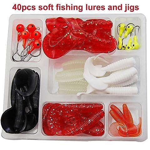 Shaddock Fishing ® 40pcs/lot Carp Fishing Lures Tackle Kit Soft Crappie Fishing Jig Head Hooks Fish Bass Worm Tail Shape Fishing Gear Lures Kit