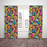 2 Panel Set Thermal Insulated Blackout Window Curtain,Vintage Funky Geometric 80s Memphis Fashion Style Colorful Figures Pop Art Inspired Pattern Decorative Multicolor,for Bedroom Living Room Dorm Kit Amazon deals