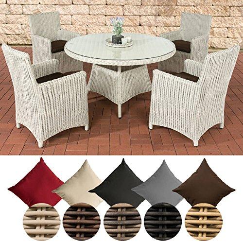 CLP Polyrattan-Sitzgruppe PINELLA mit Polsterauflagen   Garten-Set bestehend aus einem Esstisch und vier Gartenstühlen   In verschiedenen Farben erhältlich Bezugfarbe: Terrabraun, Rattan Farbe perlweiß