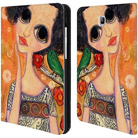 Ufficiale Wyanne Un Uccello Dice Ragazza Dagli Occhi Grandi 2 Cover a portafoglio in pelle per Samsung Galaxy Tab A 8.0