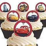 12 x Vorgeschnittene und Essbare Disney Pixar Cars Kuchen Topper (Tortenaufleger, Bedruckte Oblaten, Oblatenaufleger)
