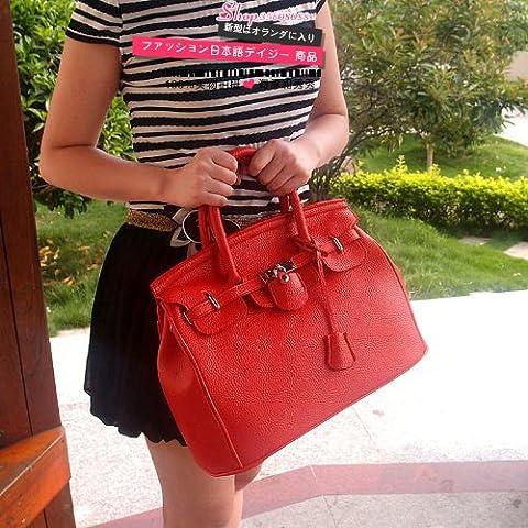 Glamour Elegant PU Faux Leather Padlock Designer Inspired Shopper Hobo Tote Bag Purse Satchel Handbag High Quality Women/Girl Fashion Work School Office Lady Student w/Shoulder Strap Red