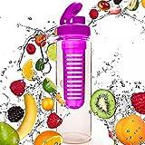 Borraccia da 700ml »FruitInfusior« per bevande a base di frutta / verdura nei colori verde, lilla, blu, nero, turchese e rosso. La borraccia sportiva perfetta in tritanio lavabile in lavastoviglie, con cappuccio extra-easy Rosa