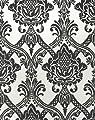Livingwalls 554949 Vliestapete Flock, Mustertapete, neo-barock, schwarz, weiß von Livingwalls bei TapetenShop