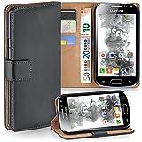 moex Samsung Galaxy Ace 2 | Hülle Dunkel-Grau mit Karten-Fach 360° Book Klapp-Hülle Handytasche Kunst-Leder Handyhülle für Samsung Galaxy Ace 2 Case Flip Cover Schutzhülle Tasche