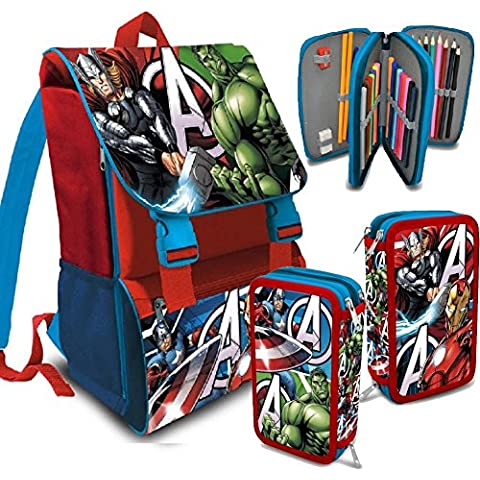 Kit Scuola School Promo Pack Zaino Estensibile + Astuccio 3 Zip accessoriato AVENGERS Marvel Super Eroi Edizione 2016-2017