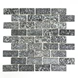 Mosaik Fliese Quarzit Naturstein Brick Quarzit schwarz anthrazit für BODEN WAND BAD WC DUSCHE KÜCHE FLIESENSPIEGEL THEKENVERKLEIDUNG BADEWANNENVERKLEIDUNG Mosaikmatte Mosaikplatte