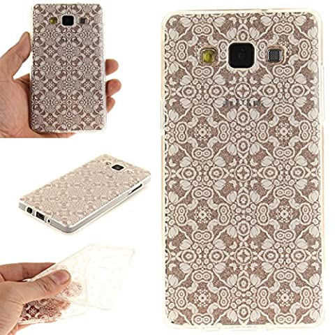 For Samsung Galaxy A3(2015) Case Cover, Ecoway TPU Clear Soft Silicone Back Colorful Hollow Floral Printed Pattern Silicone Case Protective Cover Cell Phone Case for Samsung Galaxy A3(2015) - White