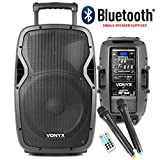 Vonyx Bluetooth DJ Speaker with UHF Wireless MicrophoneS Battery Powered Portable PA System