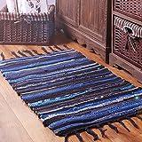 FHG Japan und Südkorea Baumwolle und Leinen Modernen Minimalistischen Wohnzimmer Schlafzimmer Teppich Küche Streifen handgewebte Ikea Matten saugfähigen Pad,Blau,90 * 150 cm