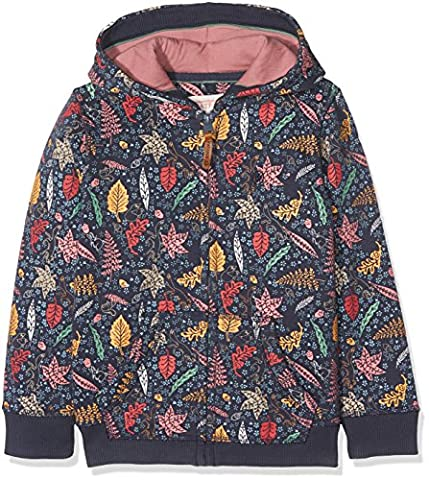 Fat Face Girl's Leaf Hoodie, Blue (Light Navy), 8-9 Years