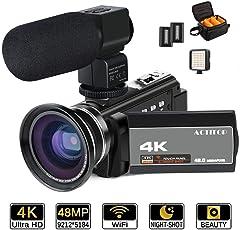 4K Camcorder, ACTITOP Videokamera 48mp Full hd 1080p WiFi IR Nachtsicht 16X Digital Zoom Video Camcorder mit externem Mikrofon, Weitwinkelobjektiv, LED Videoleuchte und Kameratasche