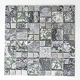 123mosaikfliesen Mosaikfliesen Fliesen Mosaik Küche Bad WC Wohnbereich Fliesenspiegel Glasmosaik Crystal Stein Stahl Mix grau Bordüre 8mm #K867