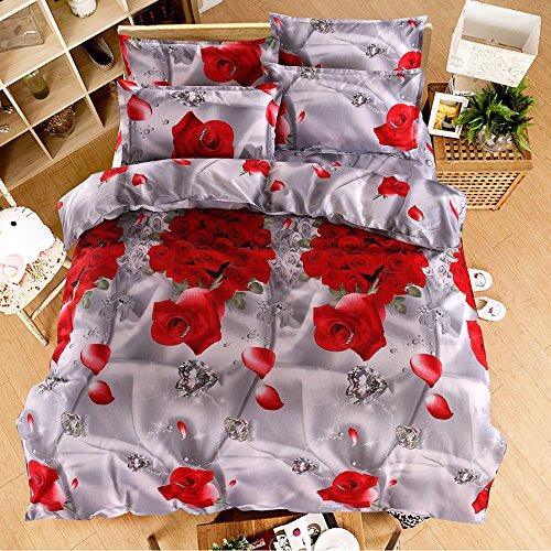 3D rot Flower Bettwäsche-Set Bettbezug Bettwäsche für Doppel Größe 4