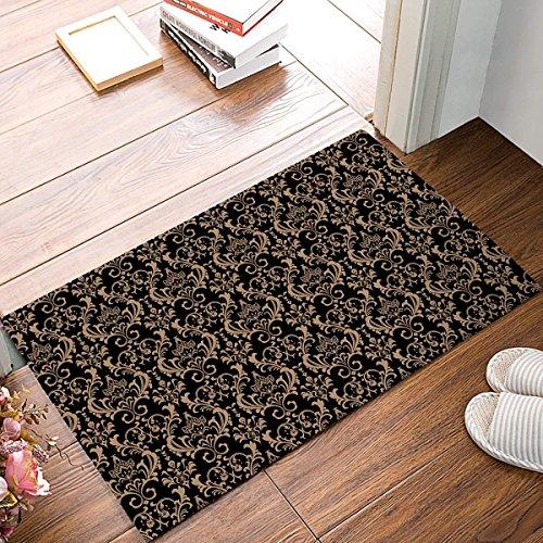 Jkimiiscute Teppich Eingang schwarz-Gold Vintage Blumen Badezimmer Fußmatte Teppich Fußmatte für den Innenbereich Anti Skid Shag Shaggy Bad Dusche Matten 59,9x 39,9cm L x W -