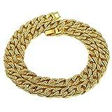 NYUK Schmuck Dicke Halskette Vergoldete Zinklegierung Strass Gold/Silber Kette für Herren Damen frauen,Länge 75cm - Breite 1,4cm(Gold)