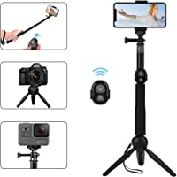 Alfort Bastone Selfie, Selfie Stick Treppiede Bluetooth Portatile con Telecomando Bluetooth per iPhone X / 8 / Samsung...