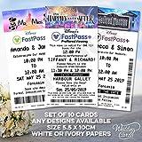 Juego de 10 boletos personalizados de Disney Fast Pass para guardar las fechas de boda Mickey Minnie Mouse Disney World Orlando Paris Florida California Magic Kingdom cualquier texto, colores, diseño