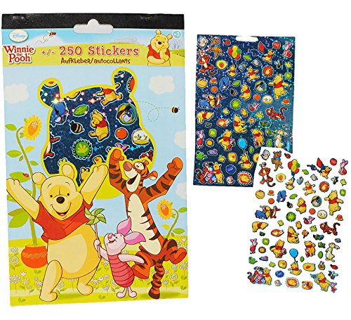 Unbekannt 250 TLG. Set: Sticker / Aufkleber -  Disney Winnie The Pooh  - mit Glitzer & Glimmer Effekt - Kinder Kind groß z.B. für Stickeralbum - Kindersticker / Stick..