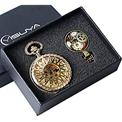 YISUYA Luxury Golden Flower Sun Hollow Case Roman Number Dial Steampunk Skeleton Mechanical Pocket Watch For Men Women With Gift Bag