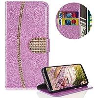 Lila Strass Brieftasche für Galaxy A8 2018,PU Leder Handyhülle für Galaxy A8 2018,Moiky Luxus 3D Diamante Magnetisch Diamant Folio Kunstleder Stand Schutzhülle