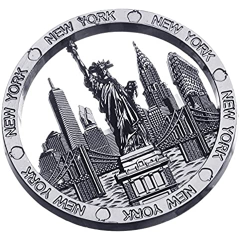 Circle New York Souvenir Metal Fridge Magnet NYC Statue of Liberty Brooklyn Bridge NY Chrysler Building Flatiron Metal Magnet by