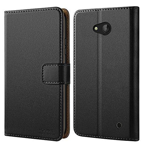 Microsoft Lumia 640 Hülle, HOOMIL Handyhülle für Microsoft Lumia 640 Tasche Leder Flip Case Brieftasche Etui Handy Schutzhülle - Schwarz (H3127)