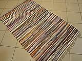 Fleckerlteppich Handgewebt 140 x 70 cm Kelim Beidseitig nutzbar ca. 1800g/m Flickenteppich