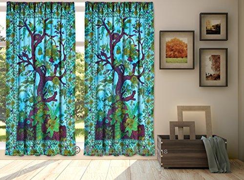 indien Rideau Drapes Panneau Sheer Arbre de vie Mandala Bohemian 2PC Ensemble de rideau de la fenêtre de porte à suspendre Decor 203,2x 264,2cm