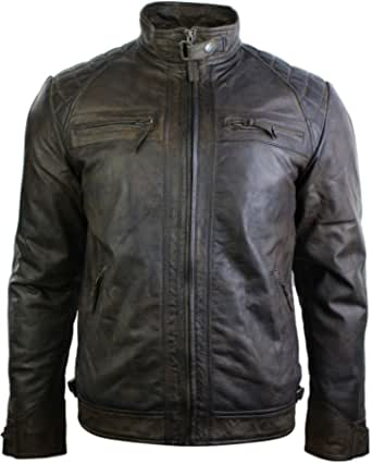 Mens Retro Style Zipped Biker Jacket Real Leather Soft Black Brown Tan Casual