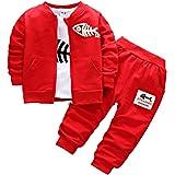 BINIDUCKLING Bebé Abrigo de niños+Pantalones + Camisas Conjuntos de ropa para niños Pequeños conjuntos de 3 piezas ocasionale