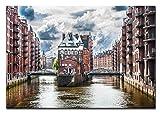 Berger Designs Bild auf Leinwand als Kunstdruck in Verschiedenen Größen. Wandbild Hamburg Speicherstadt. Beste Qualität aus Deutschland (60 x 40 cm (BxH))