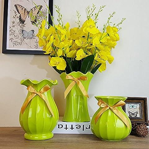 Sungmor propre et vert vif Vase en céramique avec de simples Style Multi-shap Motif, parfait pour fleurs artificielles et aux plantes de décoration hydroponique Home, Green W01, 1 Piece