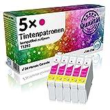 N.T.T.® 5 x Stück XL Druckerpatronen / Tintenpatronen kompatibel zu Epson T1293 Magenta / Rot, Sparpack