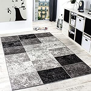 Paco Home Designer Rug Chequered in Marble Visual Effect Flecked Grey Black White Sale by Paco Home
