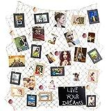Foto hängende Anzeige,Mittelmeer Fischernetz Bilderrahmen Wanddekoration,Collage Fotorahmen Holzbilderrahmen mit 30 kleinen Wäscheklammern(Beige)