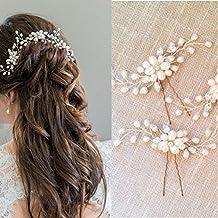 Musuntas, fermaglio per capelli alla moda, vintage, elegante, con perle e strass, gioielli per il matrimonio, accessori da sposa, accessori per capelli, 2 pezzi