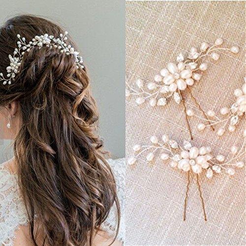 Musuntas Damen Haar-Schmuck mit Perlen und Strass, ideal als Brautschmuck, 2Stück