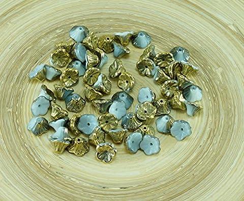 40pcs Grau Weiß Amber Gold die Hälfte Tschechische Glas Glocke, Blume Perlen-Caps 7mm x 5mm
