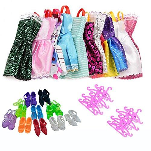 Lance Home 30pcs Accesorios de Vestir para las Muñecas de Barbie, 10pcs Verano Faldas Vestidos + 10 Pares de Zapatos + 10pcs Perchas, Estilo Ramdom